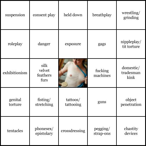 kink bingo card image cardset5-450.jpg || row 1: | suspension | consent play | held down | breathplay | wrestling / grinding || row 2: | roleplay | danger | exposure | gags | nippleplay / tit torture || row 3: | exhibitionism | silk, velvet, feathers, furs | wildcard | fucking machines | domestic / tradesman kink || row 4: | genital torture | fisting / stretching | tattoos / tattooing | guns | object penetration || row 5: | tentacles | phonesex / epistolary | crossdressing | pegging / strap-ons | chastity devices