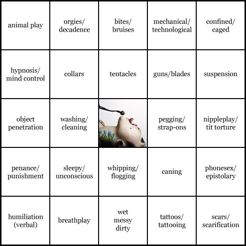 kink bingo card image cardset1-111.jpg || row 1: | animal play | orgies / decadence | bites / bruises | mechanical / technological | confined / caged || row 2: | hypnosis / mind control | collars | tentacles | guns / blades | suspension || row 3: | object penetration | washing / cleaning | wildcard (icon #53 contains: sensation play, tattoos / tattooing) | pegging / strap-ons | nippleplay / tit torture || row 4: | penance / punishment | sleepy / unconscious | whipping / flogging | caning | phonesex / epistolary || row 5: | humiliation (verbal) | breathplay | wet messy dirty | tattoos / tattooing | scars / scarification