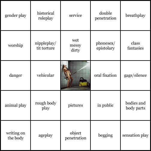 kink bingo card image cardset1-251.jpg || row 1: | gender play | historical roleplay | service | double penetration | breathplay || row 2: | worship | nippleplay / tit torture | wet messy dirty | phonesex / epistolary | class fantasies || row 3: | danger | vehicular | wildcard (icon #34 contains: pervertibles, in public, spaces scenes and settings) | oral fixation | gags / silence || row 4: | animal play | rough body play | pictures | in public | bodies and body parts || row 5: | writing on the body | ageplay | object penetration | begging | sensation play
