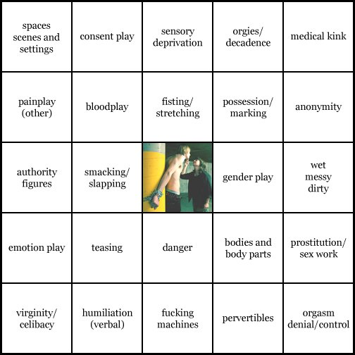 kink bingo card image cardset1-334.jpg || row 1: | spaces scenes and settings | consent play | sensory deprivation | orgies / decadence | medical kink || row 2: | painplay (other) | bloodplay | fisting / stretching | possession / marking | anonymity || row 3: | authority figures | smacking / slapping | wildcard (icon #90 contains: ropes / chains, bondage (wrist / ankle restraints)) | gender play | wet messy dirty || row 4: | emotion play | teasing | danger | bodies and body parts | prostitution / sex work || row 5: | virginity / celibacy | humiliation (verbal) | fucking machines | pervertibles | orgasm denial / control