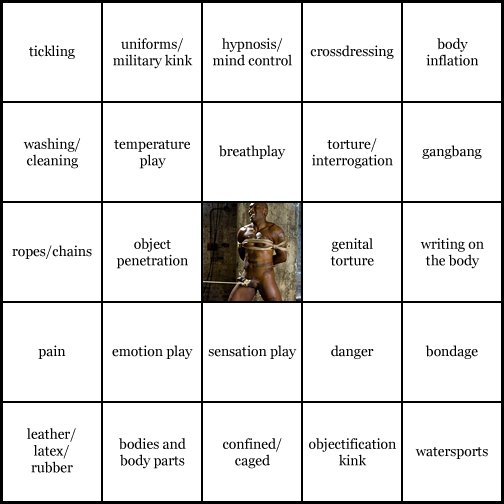 kink bingo card image cardset1-371.jpg || row 1: | tickling | uniforms / military kink | hypnosis / mind control | crossdressing | body inflation || row 2: | washing / cleaning | temperature play | breathplay | torture / interrogation | gangbang || row 3: | ropes / chains | object penetration | wildcard (icon #47 contains: bondage, genital torture, nippleplay / tit torture, ropes / chains) | genital torture | writing on the body || row 4: | pain | emotion play | sensation play | danger | bondage || row 5: | leather / latex / rubber | bodies and body parts | confined / caged | objectification kink | watersports