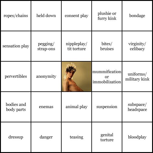 kink bingo card image cardset1-572.jpg || row 1: | ropes / chains | held down | consent play | plushie or furry kink | bondage || row 2: | sensation play | pegging / strap-ons | nippleplay / tit torture | bites / bruises | virginity / celibacy || row 3: | pervertibles | anonymity | wildcard (icon #27 contains: sensation play, temperature play) | mummification / immobilization | uniforms / military kink || row 4: | bodies and body parts | enemas | animal play | suspension | subspace / headspace || row 5: | dressup | danger | teasing | genital torture | bloodplay